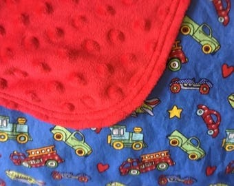 Transportation Baby Minky Blanket-fire trucks-airplanes-cars-trucks-train engines-Baby minky blanket-vehicle baby blanket-baby boy shower