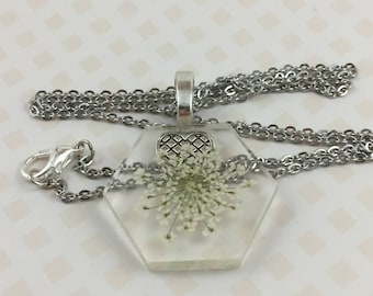 Queen Anne's Lace Hexagon Necklace