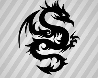 Tribal Dragon 56 - Svg Dxf Eps Silhouette Rld RDWorks Pdf Png AI Files Digital Cut Vector File Svg File Cricut Laser Cut