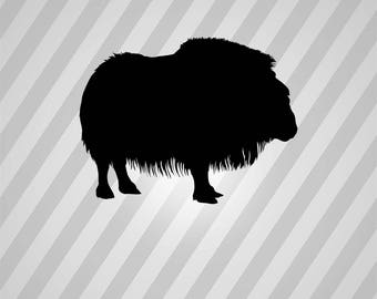 musk ox Silhouette - Svg Dxf Eps Silhouette Rld RDWorks Pdf Png AI Files Digital Cut Vector File Svg File Cricut Laser Cut