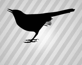 Catbird Silhouette Bird - Svg Dxf Eps Silhouette Rld RDWorks Pdf Png AI Files Digital Cut Vector File Svg File Cricut Laser Cut