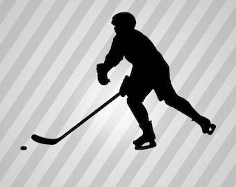 hockey Silhouette - Svg Dxf Eps Silhouette Rld RDWorks Pdf Png AI Files Digital Cut Vector File Svg File Cricut Laser Cut
