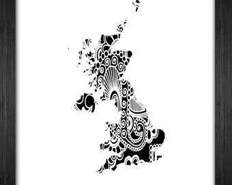 Uk Map Papercut Template Mandala Henna - Svg Paper Cut Templates Stencil Line Art Pdf Cut Files Digital Clip Art Drawing