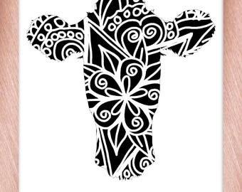Cow Head Papercut Template Mandala Henna - Svg Paper Cut Templates Stencil Line Art Pdf Cut Files Digital Clip Art Drawing