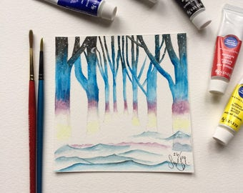 Original Watercolor Sunset Trees