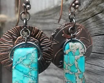 Beautiful Hand-punched Floral Copper and Turquoise Earrings