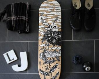 Crow skull skateboarding table