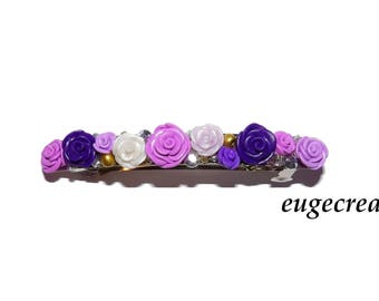 Purple pink Barrette with polymer clay