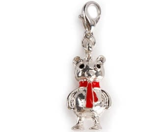 Lobster Clasp Charm - Bear with Scarf - .4375 x .875 inches – 1999-7531