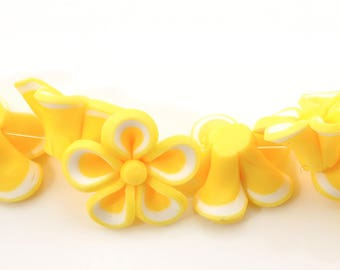 "set of 12 polymer clay beads ""flower"" yellow 21X20mm (1.5 mm hole)"