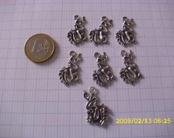 "set of 7 charms Silver ""dragon"""