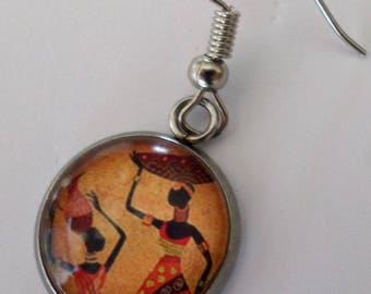 """SOLD to the PIECE """"African"""" glass cabochon post earring"""