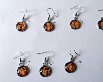 """SOLD to the PIECE, earring, cabochon glass 16 mm """"African"""" theme"""