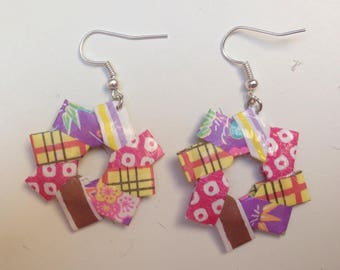 Earrings purple and yellow origami stars.