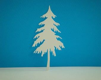 Cut white pine tree for scrapbooking and card