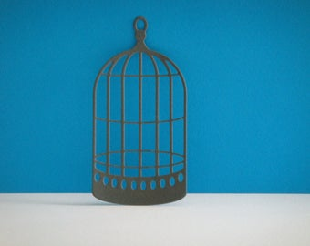 Gray cut bird cage for scrapbooking and card
