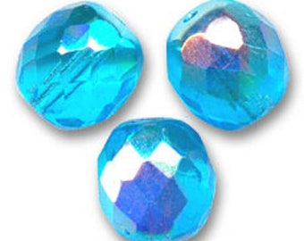 Facets of Bohemia, 10 mm: 6 blue aquamarine beads 10 mm