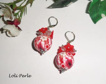 Red flowered beads with Crystal beads earrings