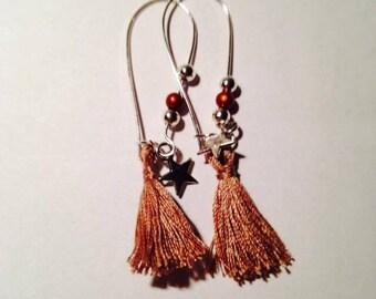 Earring ear tassels dangling beige charms