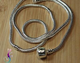 A European 55cm silver plated snake necklace pandora style