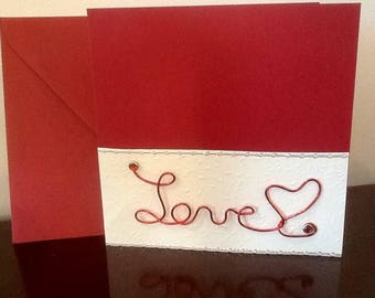 Love theme card with red aluminum wire