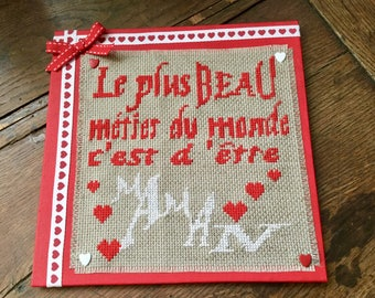 "Embroidered ""MOM"" frame"