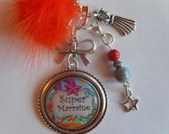 "Bag charm, door keys/GODMOTHER / ""Super godmother"" / year end gift/birthday/party/thanks /noel"
