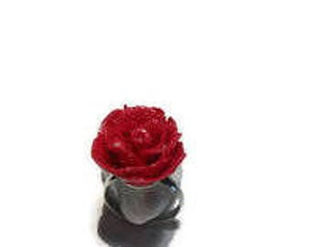 Red polymer clay rose ring / gift / birthday / mother's day