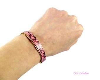 Powder Pink leather snake skin, raw brass Cuff Bracelet
