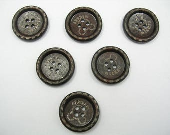 SET of 6 wood buttons: round 25mm fancy pattern (n ° 5)