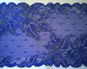 Coupon 70 cm lace of calais stretchy high quality antique blue and gold 17 cm wide