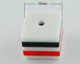 10 buttons 10 mm square 3D black white red new