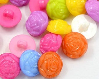 """set of 20 """"rose"""" multicolored flower buttons blend 14 mm new"""