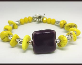 ethnic silver bracelet yellow Canary and plum