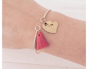 Bohemian bracelet, gold and orange tassel