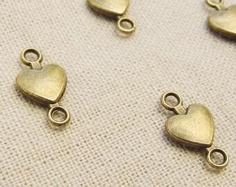 heart 15 x 8mm - bronze antique A22052 10 connectors