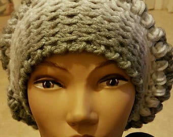 Silver and white crocheted flower beanie Hat