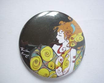 Illustrated round Pocket mirror, Warrior Yogi