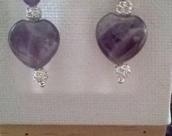 Earrings hearts and beads in Amethyst