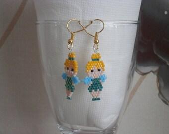 """Earrings """"Tinkerbell"""" beads."""