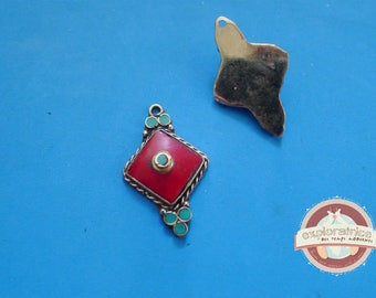 tibet nepal red and turquoise blue pendant metal silver 24x36mm