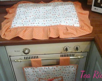 Set oven and cooker with orange and white mushroom pattern