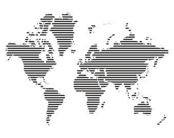 World map in stripes wall sticker, world map in stripes wall decal decor, world map wall sticker removable vinyl wall art [CT002]