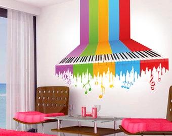 Rainbow piano wall sticker, colorful piano wall decal decor, piano wall sticker removable vinyl abstract piano wall art [SB001]