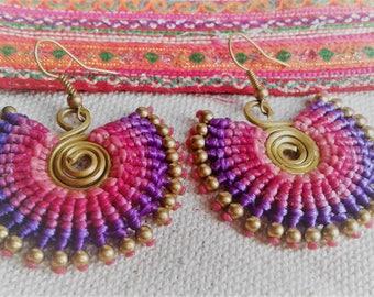 Ethnic Pink Purple hoop earrings