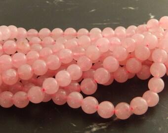 Rose Quartz natural 8 mm 10 beads