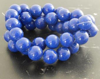 10 beads of Jade BLEU10mm ref 362
