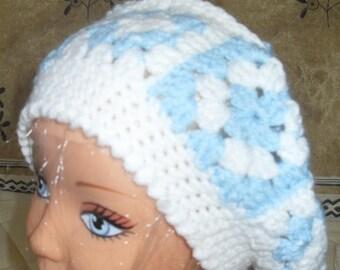 blue/white wool crochet Hat