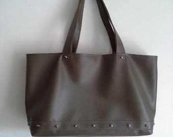 Tote bag hand-made in khaki leather
