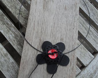 The Choker necklace with flowers in inner tube recylee and Red Pearl - torque necklace - vegan leather collar button